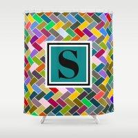 monogram Shower Curtains featuring S Monogram by mailboxdisco