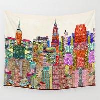 new york skyline Wall Tapestries featuring new york city skyline by bri.buckley