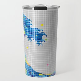 Great Wave in checked pattern_A Travel Mug