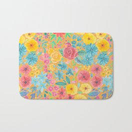Floral watercolor pattern in yellow Bath Mat