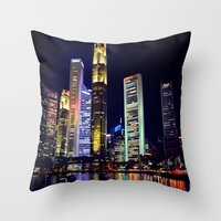 singapore Throw Pillows featuring Singapore Skyline by Mark Bagshaw Photography