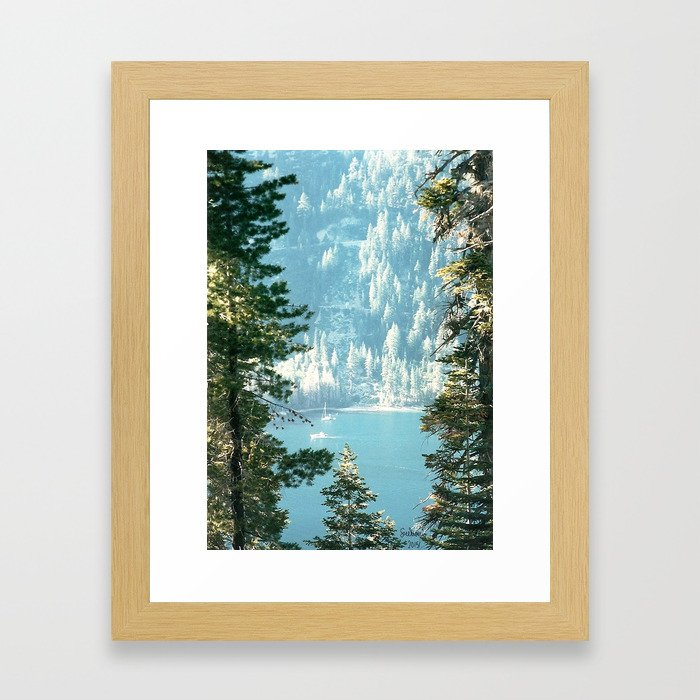 Lake Tahoe Through the Trees Framed Art Print