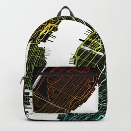 Colourful City Map of New York, USA Backpack