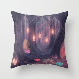 Enchanted Forrest Secret Camp-out  Throw Pillow