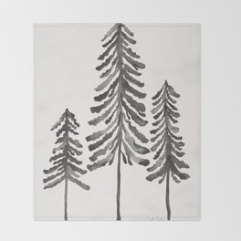 Pine Trees – Black Ink Throw Blanket