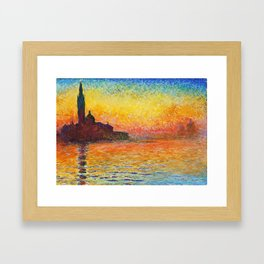 Claude Monet Sunset In Venice Framed Art Print