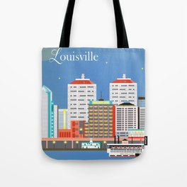 Louisville, Kentucky - Skyline Illustration by Loose Petals Tote Bag