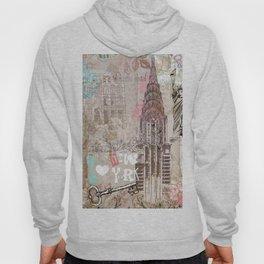 Vintage collage brown pink typography New York Landmark Hoody