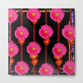 Fuchsia Gerber Daisy Flowers & Black Patterns Metal Print