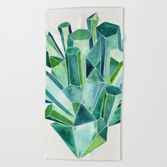 Emerald Watercolor Beach Towel