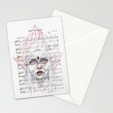 Queen of Diamonds on sheet music Stationery Cards