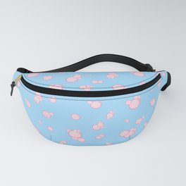 pink bubbles on blue Fanny Pack