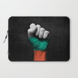 Bulgarian Flag on a Raised Clenched Fist Laptop Sleeve