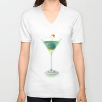 cocktail V-neck T-shirts featuring Cocktail by Etienne Chaize