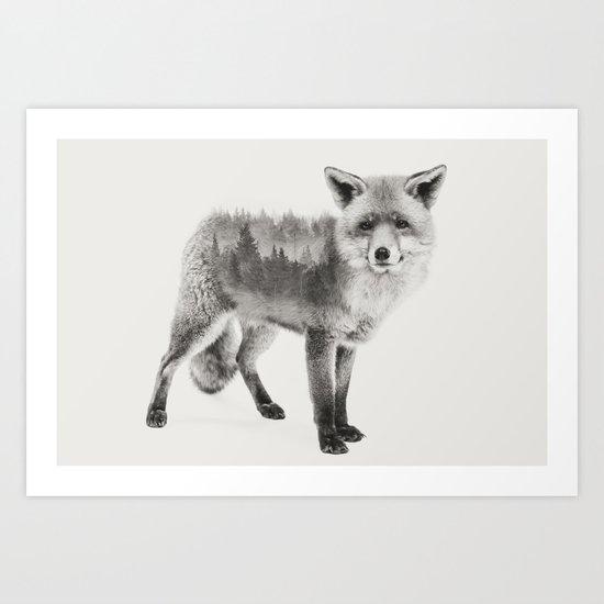 Fox Black and White Double Exposure Art Print
