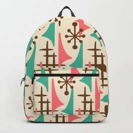 Retro Mid Century Modern Atomic Wing Pattern 425 Brown Pink and Green Backpack