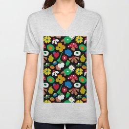 Mod Mushroom Floral Unisex V-Neck