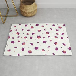 Messy purple ladybugs walking and flying with red and purple dots seamless pattern Rug