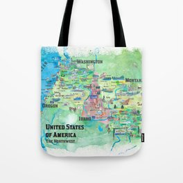 USA Northwest States Illustrated Travel Map Tote Bag