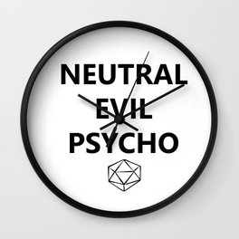 DnD Neutral Evil Psycho - Black Wall Clock