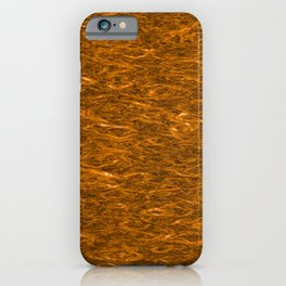 Horizontal metal texture of bright highlights on bronze waves. iPhone Case