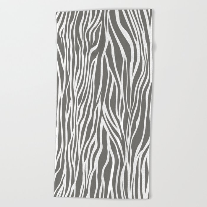 Safari Zebra Print - Grey & White Beach Towel