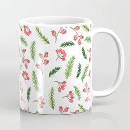 Bright Hand Drawn Christmas Mistletoe Pattern Coffee Mug