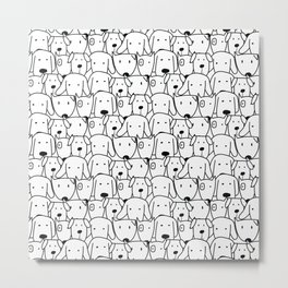 Cute Animal Lover Comic Black and White Dog Pattern Metal Print