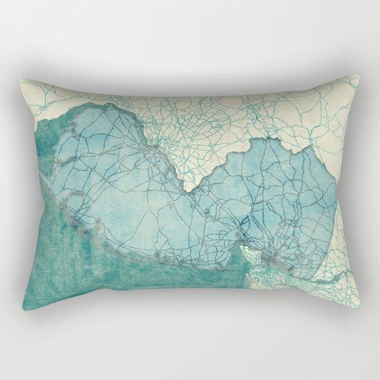 New Jersey State Map Blue Vintage Rectangular Pillow