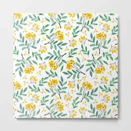 Hand painted yellow green watercolor berries floral pattern Metal Print