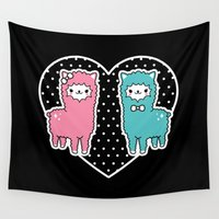 alpaca Wall Tapestries featuring Alpaca Pair by Em & Sprout