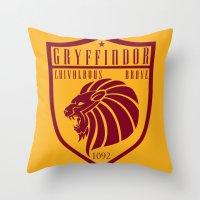 gryffindor Throw Pillows featuring Gryffindor Crest by machmigo