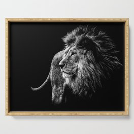 Lion Portrait in black and white Serving Tray
