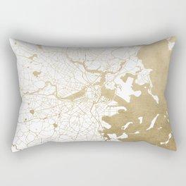 Boston White and Gold Map Rectangular Pillow