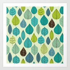 pattern with leaf Art Print