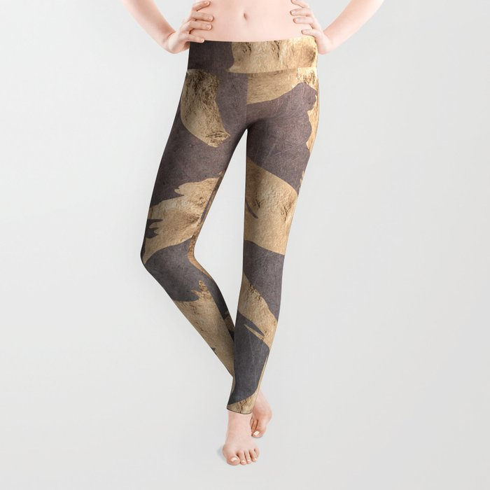 Koi at dusk - scratched leather Leggings
