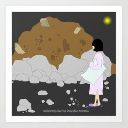 melancholy olive has incurable insomnia. Art Print
