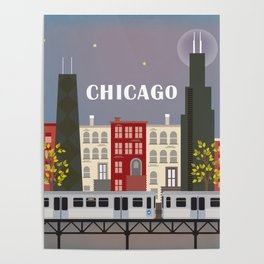Chicago, Illinois - Skyline Illustration by Loose Petals Poster