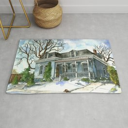 A Cozy Winter Cottage Rug
