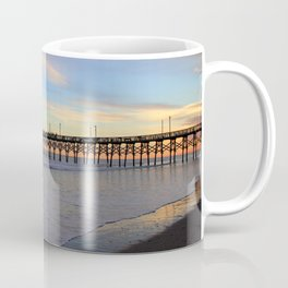 Fishing From Pier At Sunset Coffee Mug