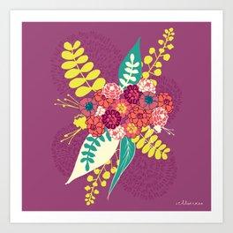 Violet flower bunch Art Print