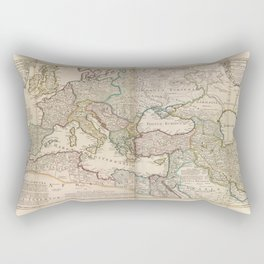 An historical map of Roman Empire and the neighbouring barbarous nations to the year of our Lord four hundred, when the empire began to be rent with f Rectangular Pillow