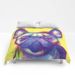 FRENCH BULLDOG COLORFUL WATERCOLOR ILLUSTRATION Comforters