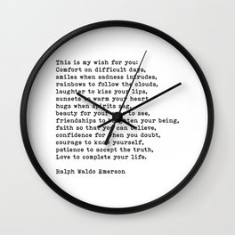 This Is My Wish For You, Ralph Waldo Emerson Quote Wall Clock