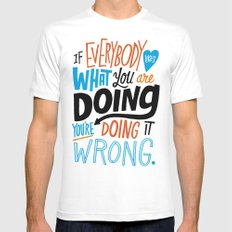 Doing it Wrong MEDIUM Mens Fitted Tee White