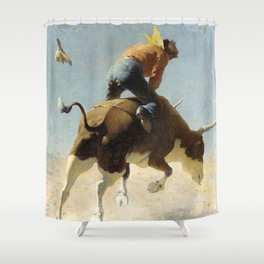 "William Leigh Western Art ""A Wild Texas Steer"" Shower Curtain"