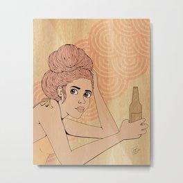 Beer Girl Metal Print