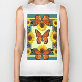 Teal & Orange Monarch Butterflies  Sunflower Patterns Art Biker Tank