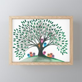 Minnesota Whimsical Owls in Tree Framed Mini Art Print