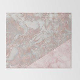 Pink marble & french polished rose gold marble Throw Blanket